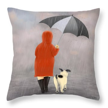 A Walk In The Rain 2 Throw Pillow by Marlene Watson