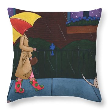 A Walk On A Rainy Day Throw Pillow by Christy Beckwith