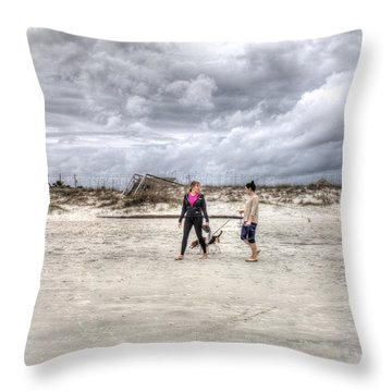A Walk On The Beach Throw Pillow by Wade Brooks