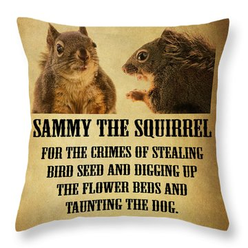 A Wanted Squirrel Throw Pillow by Peggy Collins