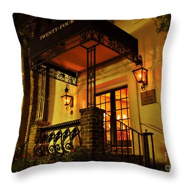 Throw Pillow featuring the photograph A Warm Summer Night In Charleston by Kathy Baccari