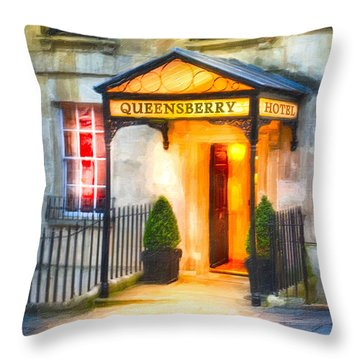 Throw Pillow featuring the photograph A Warm Welcome In Bath England by Mark E Tisdale