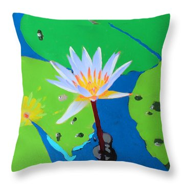 A Water Lily In Its Pad Throw Pillow