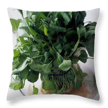 A Watercress Plant In A Bowl Of Water Throw Pillow