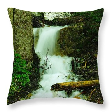 A Waterfall In Spring Thaw Throw Pillow by Jeff Swan