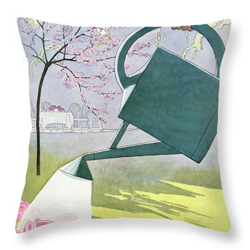 A Watering Can Above Pink Roses Throw Pillow