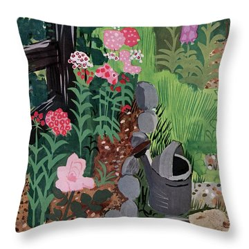 A Watering Can And A Shovel By A Flower Bed Throw Pillow