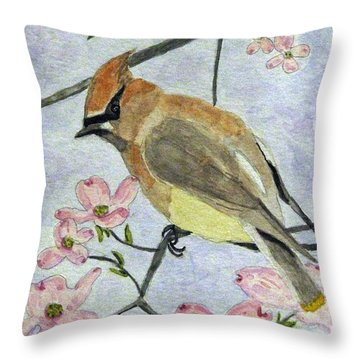 A Waxwing In The Dogwood Throw Pillow