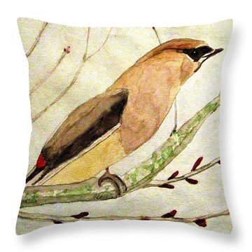 A Waxwing In The Orchard Throw Pillow