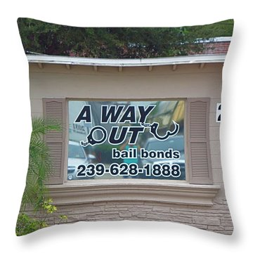 A Way Out Bail Bonds In Ft. Myers Florida. Throw Pillow