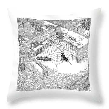 A Web Has Entangled A Man At His Cubicle Throw Pillow