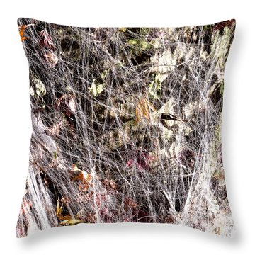 Web Of Leaves Throw Pillow by Kellice Swaggerty