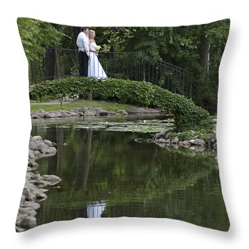 Throw Pillow featuring the photograph A Wedding In The Park by Judy  Johnson