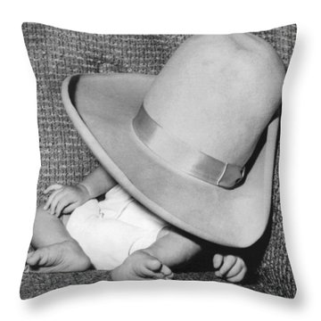 A Wee Weary Cowpoke Throw Pillow by Underwood Archives