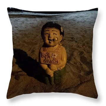 Throw Pillow featuring the photograph A Welcoming Friend On My Night Stroll by Mr Photojimsf