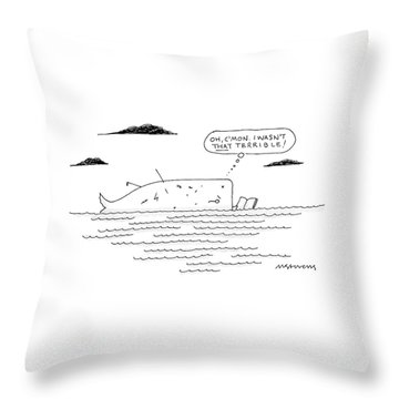A Whale Reads A Book While Thinking Oh Throw Pillow