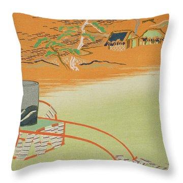 A Wheelbarrow Of Salt Water, 1903 Colour Woodblock Print Throw Pillow