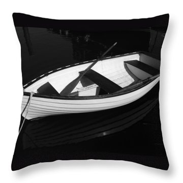 A White Rowboat Throw Pillow by Xueling Zou