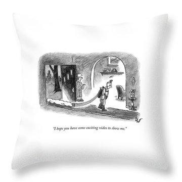 A Wife Speaks To Her Husband As He Walks Throw Pillow