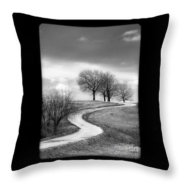 A Winding Country Road In Black And White Throw Pillow