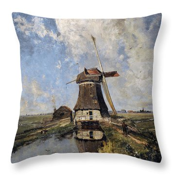 A Windmill On A Polder Waterway, Known As In The Month Of July, C. 1889, By Paul Joseph Constantin Throw Pillow