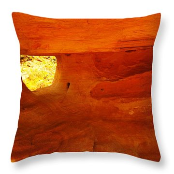 A Window In The Rock Throw Pillow by Jeff Swan