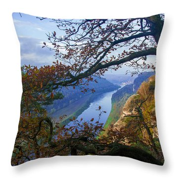 A Window To The Elbe In The Saxon Switzerland Throw Pillow