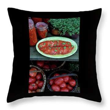 A Wine & Food Cover Of Tomatoes Throw Pillow