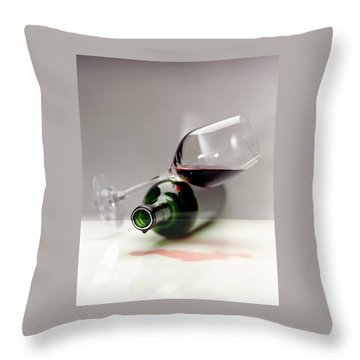 A Wine Bottle And A Glass Of Wine Throw Pillow