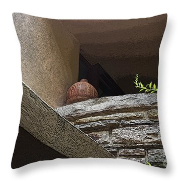 A Wine Jug Throw Pillow by Yvonne Wright