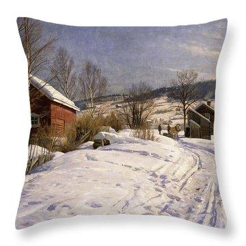 A Winter Landscape Lillehammer Throw Pillow by Peder Monsted