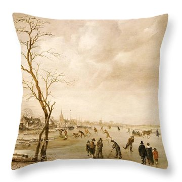 A Winter Landscape With Townsfolk Skating And Playing Kolf On A Frozen River Throw Pillow by Aert van der Neer