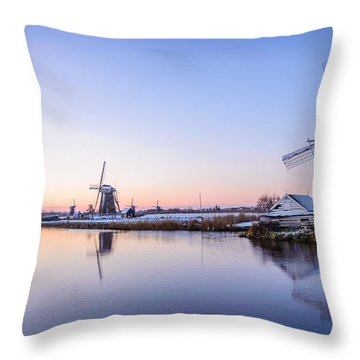 A Cold Winter Morning With Some Windmills In The Netherlands Throw Pillow