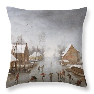 A Winter River Landscape Throw Pillow