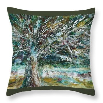A Winter Tree Throw Pillow by Mary Wolf