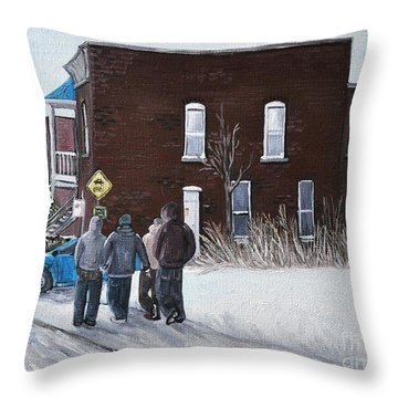 A Winter Walk In Montreal Throw Pillow by Reb Frost