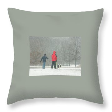 A Winter Walk In The Park - Silver Spring Md Throw Pillow by Emmy Marie Vickers