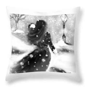 A Winters Walk Throw Pillow by Lori  Lovetere