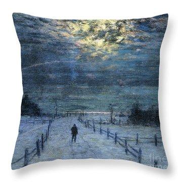 A Wintry Walk Throw Pillow by Lowell Birge Harrison