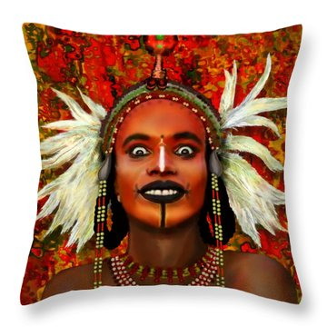 Throw Pillow featuring the painting A Wodaabe Groom by Jann Paxton