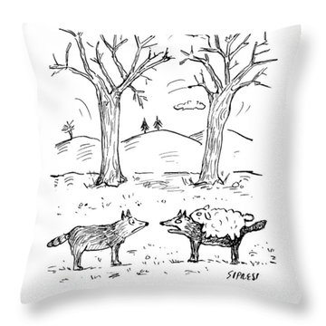 A Wolf In A Sheep Pelt Talking To Another Wolf Throw Pillow