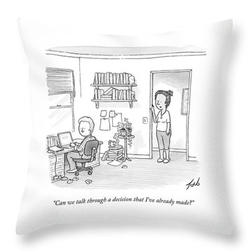 A Woman Addresses Her Husband In His Home Office Throw Pillow