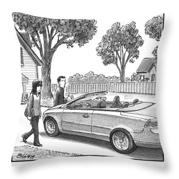 A Woman And Man Are Walking From Their House Throw Pillow