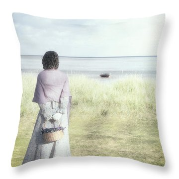 A Woman And The Sea Throw Pillow by Joana Kruse