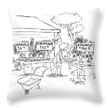 A Woman At A Plant Sale Looks At Signs Reading: Throw Pillow