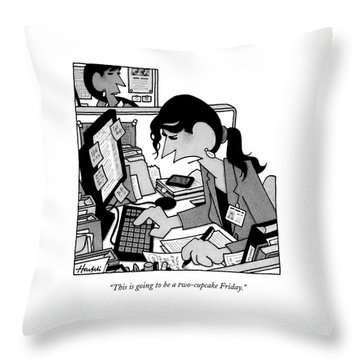 Two Cupcake Friday Throw Pillow