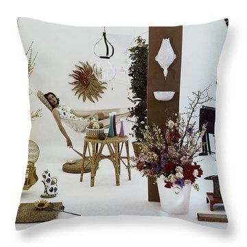 A Woman In A Hammock And Porch Furniture Throw Pillow
