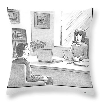 A Woman Interviewing A Man Reads His Resume Throw Pillow