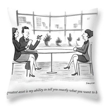 A Woman Interviews For A Job Throw Pillow