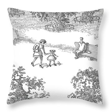 A Woman Is Seen Guiding Her Daughter Throw Pillow